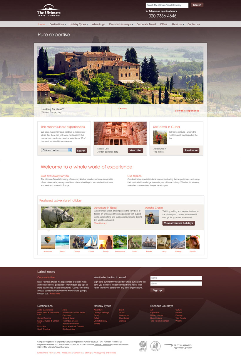 Ultimate Travel Company redesign