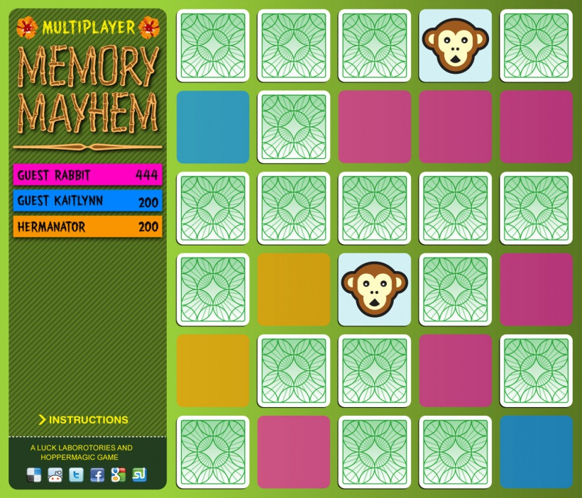 Multiplayer memory mayhem game screens