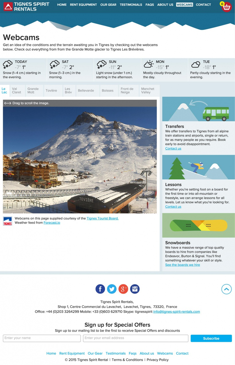 Tignes Spirit Rentals webcams